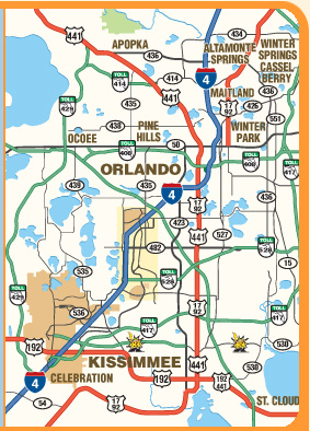 Orlando Area Map Printable Maps of Orlando and Kissimmee Florida   Print a FREE